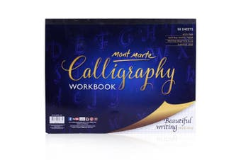 (1 Pack) - Mont Marte Calligraphy Workbook 50 Sheets 1 Pack, 23cm x 30cm . Acid Free Pages with Ruled Grids.