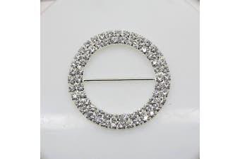 7pcs 50mm x 50mm Round Shaped Rhinestone Buckle Slider for Wedding Invitation Letter