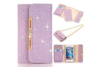 (iPhone 6/6s, Purple) - iPhone 6 Wallet Case, LA GO GO Luxury Bling Crystal Rhinestone Glitter Handbag Leather Purse Flip Card Pouch Stand Cover Case for iPhone 6s (iPhone 6/6s, Purple)
