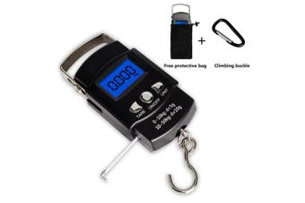 (Black) - TyhoTech Fishing Scale 110lb/50kg Backlit LCD Screen Portable Electronic Balance Digital Fish Hook Hanging Scale with Measuring Tape Ruler, D Shape Buckle and Carry Bag Included