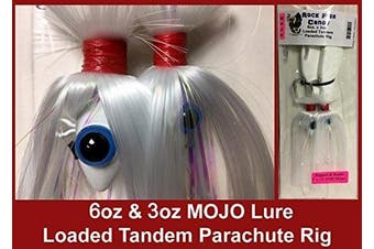Blue Water Candy - Rock Fish Candy 180ml & 90ml Mojo Lure Loaded with 23cm Swimbait Shad Bodies Tandem Parachute Rigged & Ready (White) - 60079-9