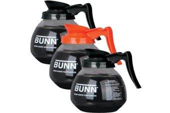 (2 Black Lids, 1 Orange Lid) - BUNN Regular and Decafe Glass Coffee Pot Decanter / Carafe, 12 Cup, 2 Black and 1 Orange, Set of 3 by Bunn