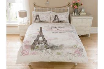 (Double) - Pieridae Paris Luxury Eiffel Tower Floral Panel Reversible Duvet Set Quilt Cover Bedding (Double)