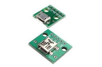 HALJIA Mini USB to 2.54mm DIP 5P and Micro USB to DIP 5 Pin Female Connector Adapter Module Board