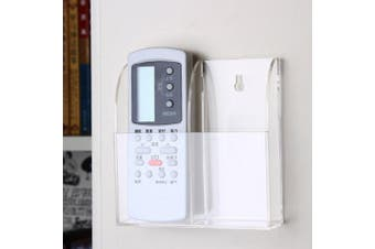 (2 Compartments) - VANCORE Acrylic TV Remote Control Holder Wall Mount Storage Box Media Organiser Case