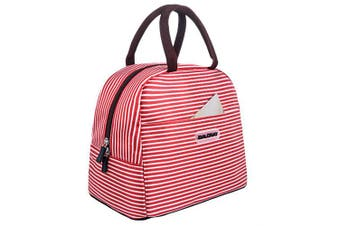 (red white stripes) - Baloray Cute Love Heart Lunch Bag Tote Bag Lunch Organiser Lunch Holder Lunch Container (red white stripes)