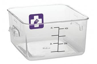 (4QT Container, Purple) - Rubbermaid Commercial Products 1980250 Square Plastic Food Storage Container, Purple, 3.8l Container