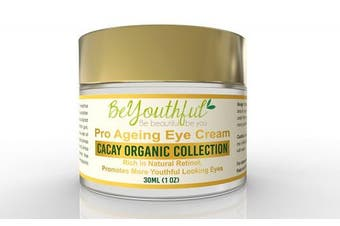BeYouthful Pro-Ageing Eye Cream With Cacay Oil - Reduce Dark Circles, Puffiness, Bags, Wrinkles And Dry Crepey Skin. Natural, Organic And Paraben Free Anti-ageing Active Beauty Care. Give Your Eyes A More Youthful Look.