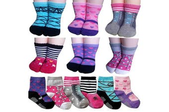 (Multicolored-baby Girl Socks) - BSLINO Non-Skid Gripper Assorted 6 Pairs 12-24 Months Baby Girl Toddler Socks Anti Slip Stretch Knit Grips Cotton Shoe Socks Slippers Gift+ Thank You Card (Multicolor)