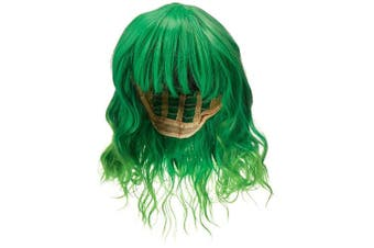 (Bright Green Ombre) - Alacos Fashion 35cm Short Curly Bob Anime Cosplay Wig Daily Party Christmas Halloween Synthetic Heat Resistant Wig for Women +Free Wig Cap (Bright Green Ombre)
