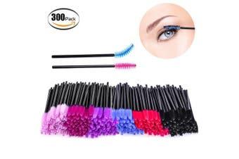 Bysiter 300pcs Mascara Brushes Disposable Eyelash Mascara Wands Eye Lash Applicator Makeup Brush Kit for women girl ,Multicolor (300pcs)