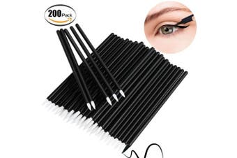 (Black) - Bysiter Disposable Eyeliner Brush Eye shadow Applicator Fine Point Eye Liner Pens Lip Liner brushs Cosmetic Wands Makeup Tool set,200pcs (Black)