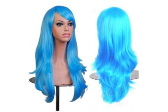 (Light Blue) - AneShe Wigs 70cm Long Wavy Hair Heat Resistant Cosplay Wig for Women (Light Blue)