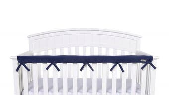 (Narrow Front Rail - 1 pc., Navy) - Trend Lab Waterproof CribWrap Rail Cover - for Narrow Long Crib Rails Made to Fit Rails up to 20cm Around