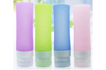 JasCherry 4 pcs Leakproof Silicone Travel Bottles Set - TSA Carry On Approved, BPA Free - Squeezable and Portable Storage Bottle for Shampoo, Sunblock and Toiletries Etc (Large size 80ml)