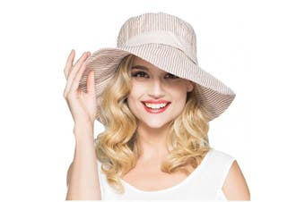 (Coffee) - Women Ladies Fashion Stripe Bucket Hats Anti-UV Sun Protection Foldable Floppy Cotton Sun Hats Fisherman Hat Shopping Fishing Travelling Camping Cycling Beach Flat Bucket Hat Headwear Topee