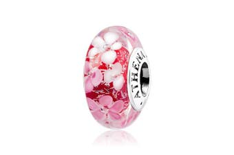 (Pink) - ATHENAIE Murano Glass 925 Silver Core Pink Flower Garden Bead Charms Colour Pink