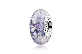(Purple) - ATHENAIE Murano Glass 925 Silver Core Purple Flower Garden Bead Charms Colour Purple