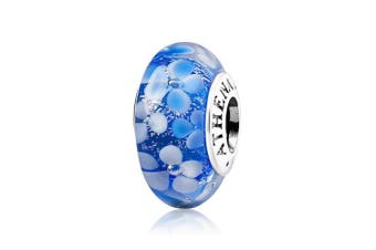 (Blue) - ATHENAIE Murano Glass 925 Silver Core Blue Flower Garden Bead Charms Colour Blue