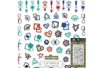 Catwalk Premium Peel-N-Stick Nail Stickers (Coloured Geometric Shapes)