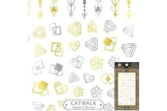 Catwalk Premium Peel-N-Stick Nail Stickers (Metallic Geometric Shapes)