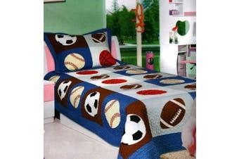 (Full) - Mk Collection 3pc Bedspread Boys Sport Football Basketball Baseball New (Queen)