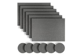 (set of 6 placemats and coasters, Grey) - Homcomoda Washable Vinyl Placemats and Coasters Set of 6(Grey)