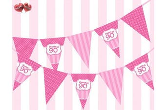 Perfect Pink Happy 90th Birthday Ornament Sing on Polka Dot and Vintage Pink and Fuchsia Pattern Themed Bunting Banner 12 flags 1.5m for guaranteed simply . Girl party decoration by PARTY DECOR