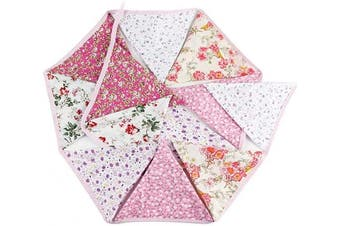 (6 Floral Flags Repeated Twice) - 3.3m Floral Bunting Banner, Vintage Cloth Shabby Chic Flag Garlands, Double Sided Fabric Triangle Pennants for Birthday Parties Ceremonies Kitchen Bedrooms