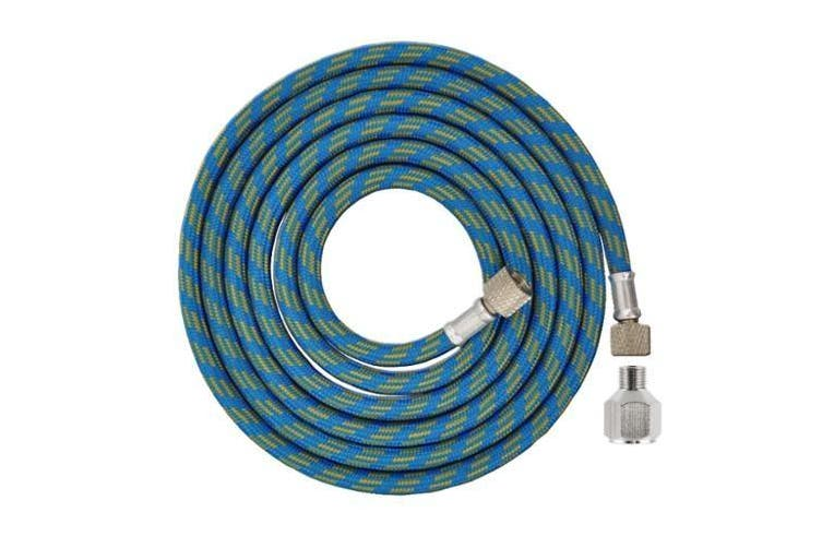 Master Airbrush Premium 1.8m Nylon Braided Airbrush Hose with 0.3cm BSP Size Fittings plus a 0.6cm BSP Female to 0.3cm BSP Male Fitting Conversion Adapter