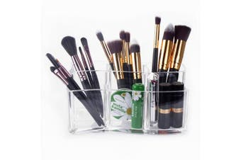 (2) - Makeup Brush Holder – Meersee Acrylic Makeup Organisers Cosmetic Brush Cylinder Clear