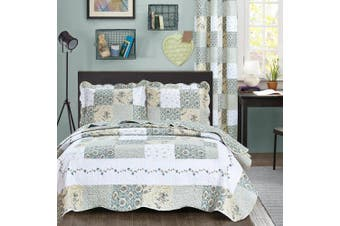 (Full/Queen Size, Blue & Green) - All American Collection New Reversible 3pc Floral Printed Patchwork Blue/Green Bedspread/Quilt Set