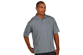 (X-Large, Grey/Heather) - Antigua Men's Pique Xtra-Lite Desert Dry Polo Shirt