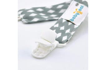 (Plastic Clips, white and grey) - Babygoal Set of 3 Boy Pacifier Clips Fits All Pacifier Styles & Teething Toys, Baby Boy Shower Gift PS06