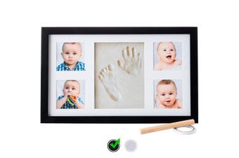 Baby Handprint Kit |NO Mould| Baby Picture Frame, Baby Footprint kit, Perfect for Baby Boy Gifts,Top Baby Girl Gifts, Baby Shower Gifts, Newborn Baby Keepsake Frames (Deluxe, Black)