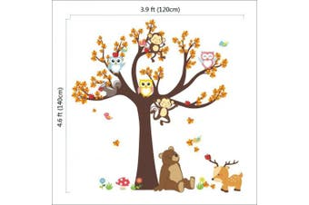 (Owl Monkey Bear) - ElecMotive Jungle Wild Animal Vinyl Wall Sticker Decals for Kids Baby Bedroom (Owl Monkey Bear)