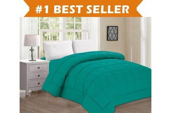 (Full/Queen, Turquoise) - Best Selling Luxury Comforter on Amazon! Elegant Comfort Ultra Plush Down Alternative Double-Filled Comforter %100 HypoAllergenic, Full/Queen , Turquoise