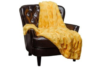 (130cm  x 170cm , Yellow) - Chanasya Super Soft Warm Elegant Cosy Fuzzy Fur Fluffy Faux Fur with Sherpa Wavey Pattern Plush Yellow Throw Blanket (130cm x 170cm )- Yellow