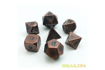 Bescon Antique Copper Solid Metal Polyhedral D & D Dice Set of 7 Old Copper Metal RPG Role Playing Game Dice 7pcs Set
