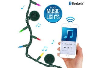(Traditional Tip 5-Color Incandescent, Green Cord) - Bright Tunes Decorative String Lights with Bluetooth Speakers, Traditional Tip 5-colour Incandescent, Green Cord
