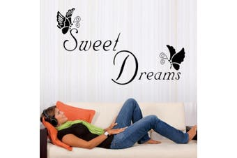 Wall Stickers,Sweet Dreams Butterfly Love Quote Wall Stickers Bedroom Removable Decals DIY (Black)