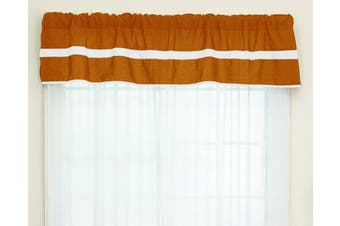 (Orange/White) - Baby Doll Bedding Solid Stripe Window Valance, Orange/White