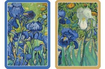 Entertaining with Caspari Double Deck of Bridge Playing Cards, Van Gogh Irises