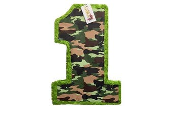 APINATA4U 50cm Tall Green Camouflage Number One Pinata