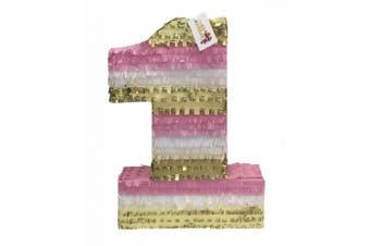 APINATA4U Large Number One Pinata 60cm Tall Light Pink White & Gold