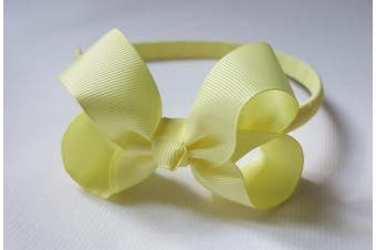 (Light Yellow) - Alice Band With Bow Girls Ribbon Hair Band Girls Wrapped Headband (Light Yellow)