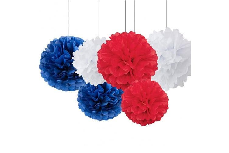 Navy Blue White Red Tissue Paper Pom Pom Paper Flower Ball Decoration Paper Lantern Paper Honeycomb Tissue Ball Paper Decoration for Baby Shower Nursery Decor Party Favours Nation Day