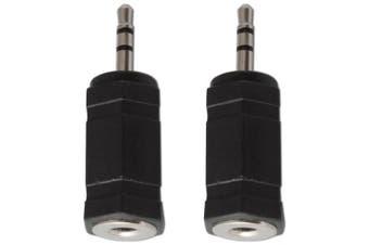 3.5mm Mini Jack Socket to 2.5mm Plug Stereo Audio Converter Adaptor x 2