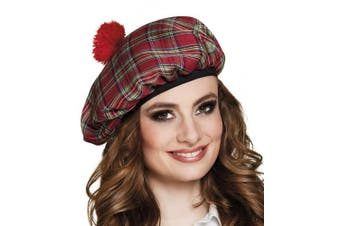 (Red) - Boland 81225 Mrs. Tartan Costume Beret One Size
