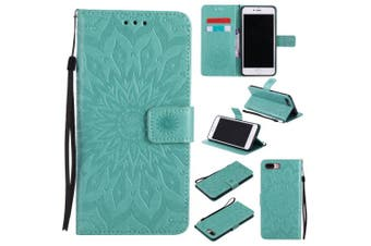 (iPhone 7 Plus [14cm ], Green) - iPhone 7 Plus Wallet Case,A-slim(TM) Sun Pattern Embossed PU Leather Magnetic Flip Cover Card Holders & Hand Strap Wallet Purse Case for iPhone 7 Plus [14cm ] - Green
